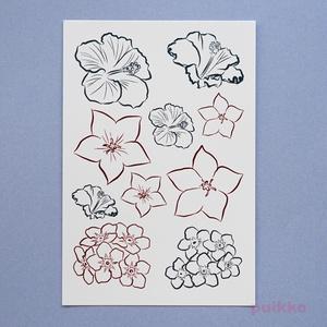 花・線画4 タトゥーシール