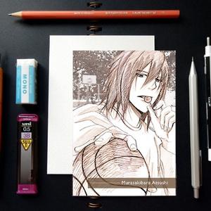 黒子のバスケ スケッチ風 ポストカード ─ 紫原敦