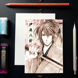 薄桜鬼 スケッチ風 ポストカード ─ 伊庭八郎