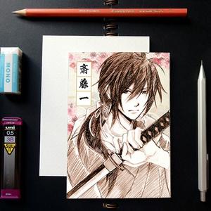 薄桜鬼 スケッチ風 ポストカード ─ 斎藤一