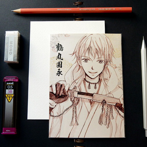 刀剣乱舞 スケッチ風 ポストカード ─ 鶴丸国永