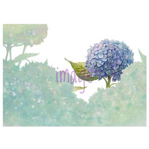 青時雨に輝く紫陽花のポーチ