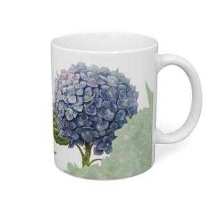 青時雨に輝く紫陽花のマグカップ