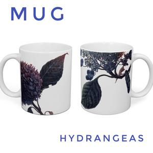 紫陽花と額紫陽花のマグカップ