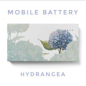 青時雨に輝く紫陽花のモバイルバッテリー