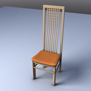 3D素材 木製イス Wood chair No.1001