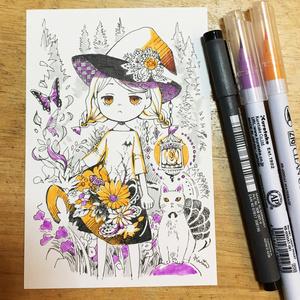ドローイング手描きイラスト 原画 魔女 ハガキサイズ