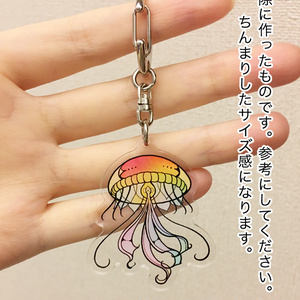 オリジナル虹色クラゲ アクリルキーホルダー