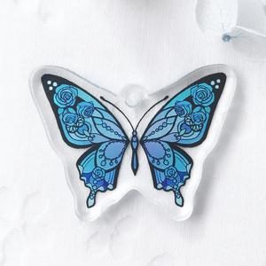 【青薔薇蝶】アクリルキーホルダー