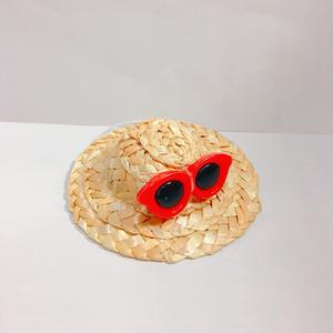 ぬい用麦わら帽子レッド(ラウンド)