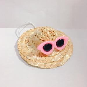 ぬい用麦わら帽子ピンク(ラウンド)