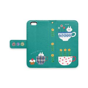 手帳型iPhoneケース  ねことコップとケーキ 青緑色