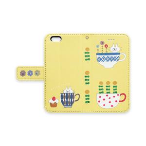 手帳型iPhoneケース  ねことコップとケーキ たまご色