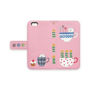 手帳型iPhoneケース  ねことコップとケーキ 桃色
