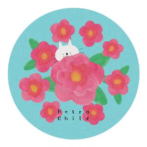 マスキングテープ 猫と花