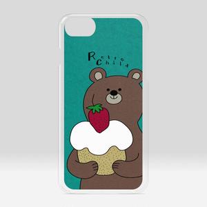 iPhoneクリアケース クマと苺ケーキ