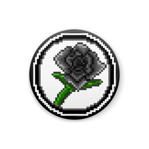 「ドット絵フラワー(黒薔薇)」 ギャングスターパラダイス2次創作缶バッジ