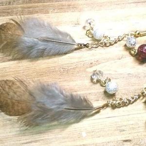 ふわりん♪山鳥の羽根のピアス/イヤリング♪鳥の羽アクセサリーハンドメイド