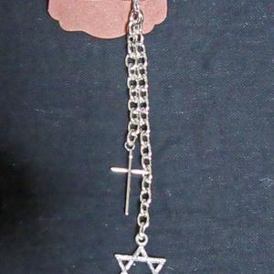 十字架と六芒星のシンプルチェーンピアス(1個販売)