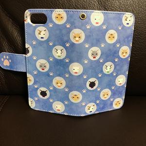 iPhone7手帳型ケース 猫(ブルー)