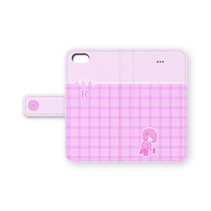 抵抗さん【ピンクチェック】 手帳型iPhoneケース