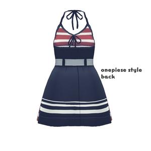 Saku*saku ボーダー2way水着セット/Striped 2-Way Swimsuit Set