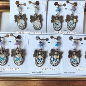 蝶標本のイヤリング