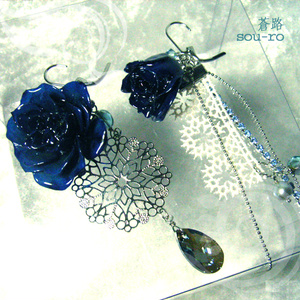 Natural Rose ~青薔薇ピアス~