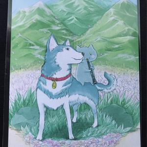 「春の猟犬とクラねこさん」ポストカード