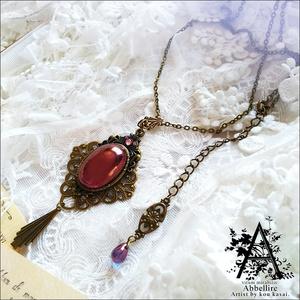 艶やかなアメジストの金古美ネックレス-Vintage-