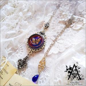 蝶と花の銀古美ネックレス