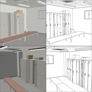 【3D素材】ロッカールーム