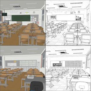 【3D背景】小学校 教室 高学年