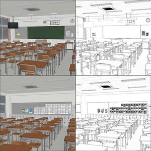 【3D背景】高校 教室