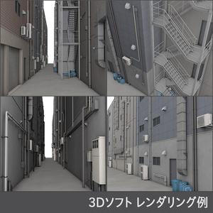 【3D素材】繁華街 路地