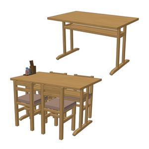 【3D素材】定食屋テーブル セット