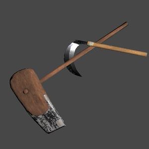 3Dモデル「鍬と鎌」