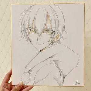 【刀剣乱舞】鶴丸ラフ色紙