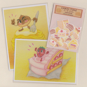 ケーキのポストカードとシールのセット
