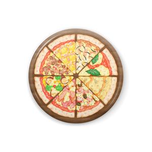 8種のピッツァの缶バッジ