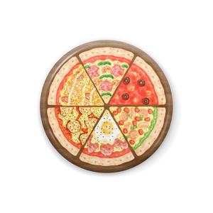 6種のピッツァの缶バッジ