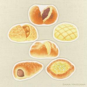 【SALE】はがせるミニ・ステッカー★定番の菓子パンセット