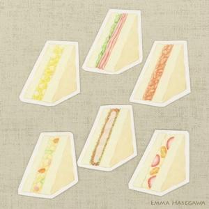 【SALE】はがせるミニ・ステッカー★サンドイッチセット