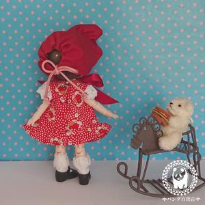 【オビツ11サイズ】 文化人形風 ワンピース&ボンネット2点セット