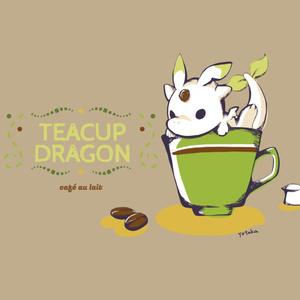 【缶バッジ】ティーカップドラゴン(カフェオレ)