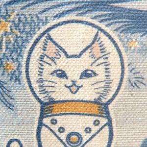 キャンバストートバッグSサイズ『白猫印の宇宙食 おさかな味』宇宙を旅する白猫マイカシリーズ