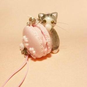 にゃんこのしっぽ○桜マカロンのストラップ〇さばとら白猫