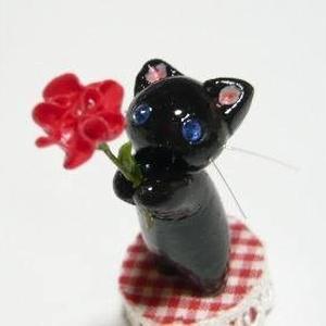 にゃんこのしっぽ〇母の日〇カーネーション〇黒猫