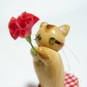 にゃんこのしっぽ〇母の日〇カーネーション〇猫〇アビシニアン