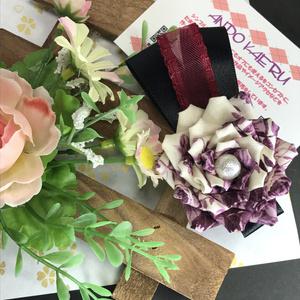 薔薇とリボンのバレッタ